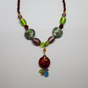 Colorful Art Glass Bead Necklace